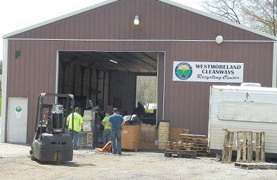 The front of the recycling center building