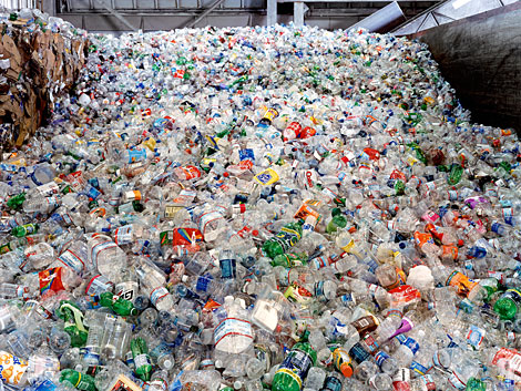 A pile of plastic bottles to be recycled