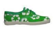 A tennis shoe with recycling symbols on it