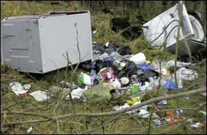 Trash scattered on the ground at an illegal dumpsite
