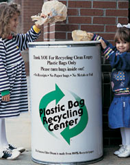 A plastic bag recycling container