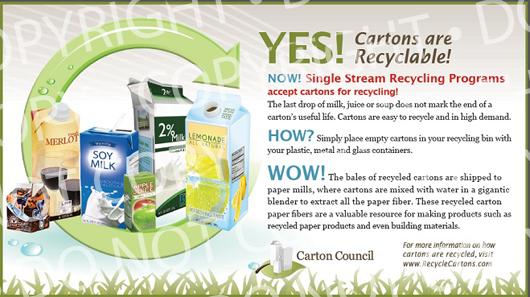 Advertisement for the Carton Council advocating carton recycling