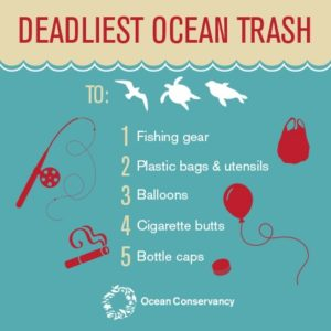 Fishing gear, plastic bags and utensils, balloons, cigarette butts and bottle caps are the deadliest ocean trash according to the Ocean Conservancy